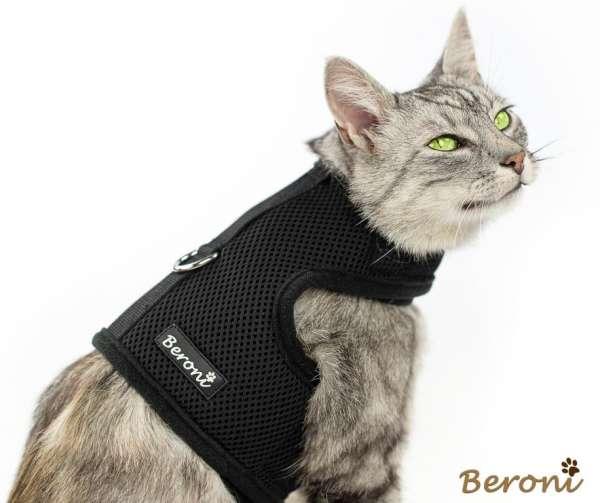 Kitty Jacket harnais anti-fuite pour chat souple CLASSIC uni noir