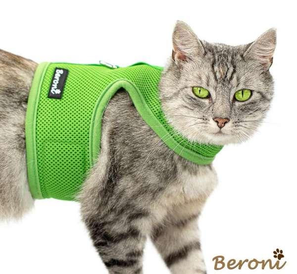 Kitty Jacket harnais anti-fuite pour chat souple CLASSIC uni vert